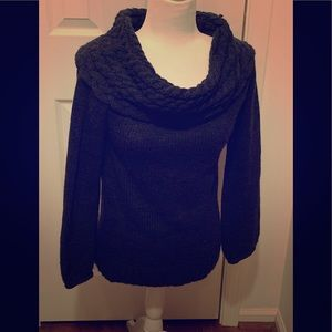 Bebe sweater, gray cowl neck, size S